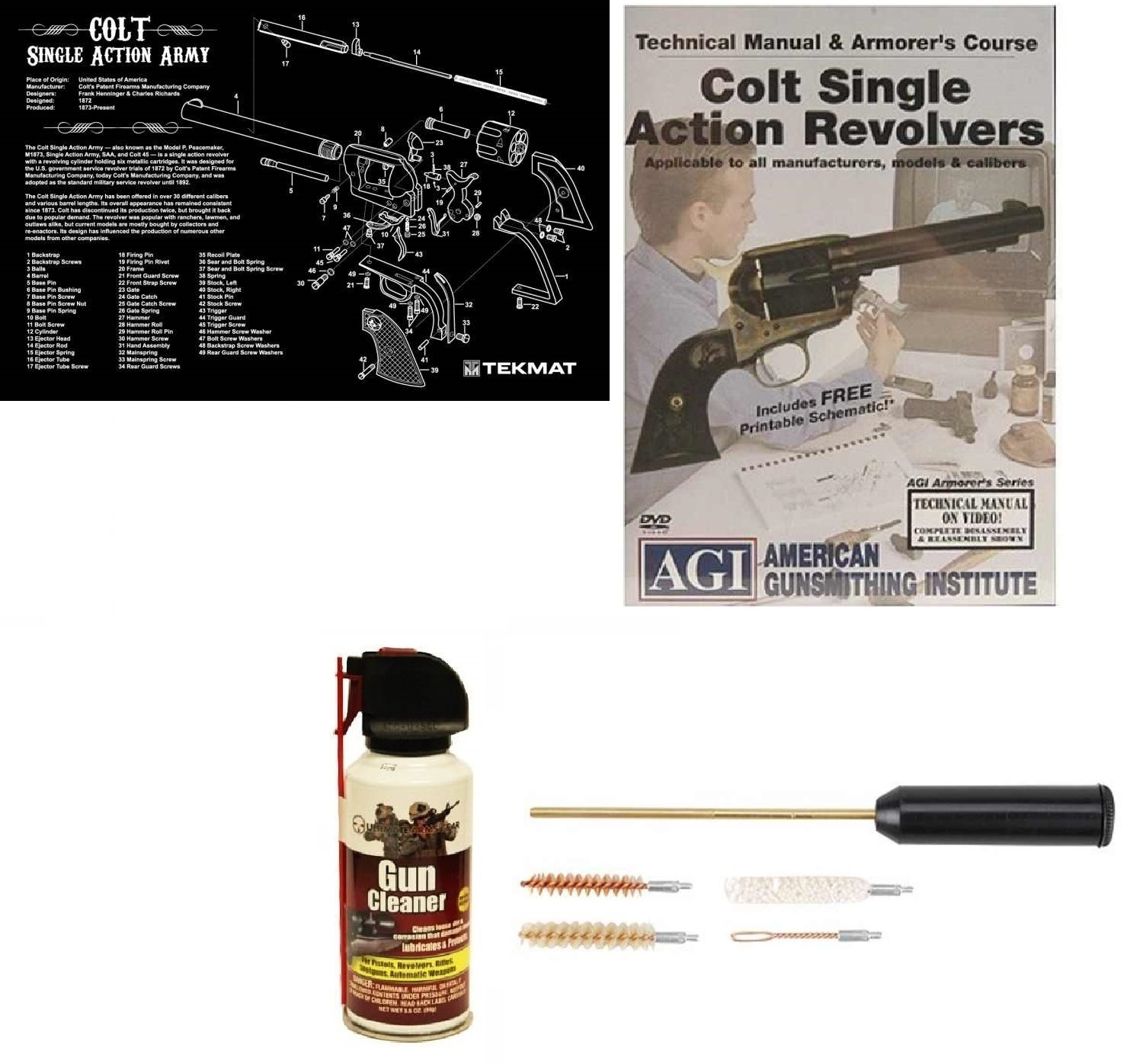 Ultimate Arms Gear Gunsmith & Armorer's Cleaning Bench Gun Mat Colt Single Action Army Revolver + Compact Pocket Sized... by