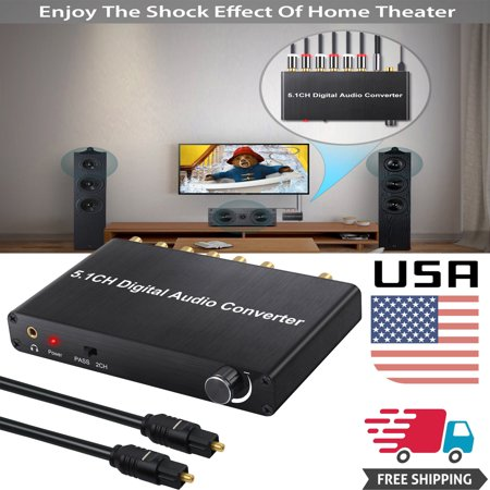 ESYNIC Digital Audio Decoder 5.1ch Optical Coaxial Toslink to Analog 1in 6out Converter