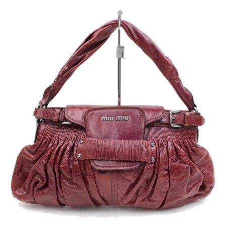 Miu Miu Patent Leather - Miu Miu Cinched Leather Hobo 2189935 Bordeaux Satchel