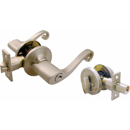 Ultra Satin Nickel Single Cylinder Deadbolt & Entry Combo Lockset 44569