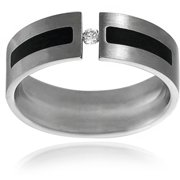 Men's CZ Stainless Steel Wedding Band, 7mm