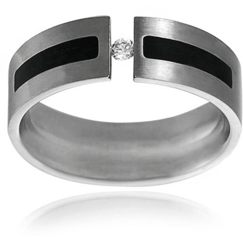 Daxx Men's CZ Stainless Steel Wedding Band, 7mm