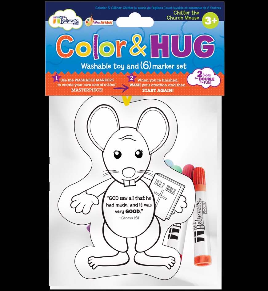 "Toy-Plush-Color & Hug-Mouse w/6 Washable Markers-Doublesided (6"")"