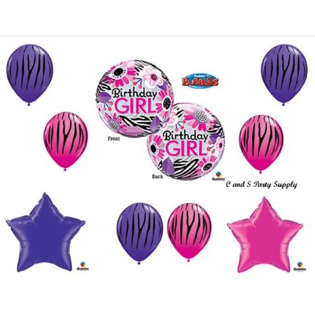 Zebra Bubble Birthday Girl BIRTHDAY PARTY Balloons Decorations Supplies 16th 13th Teenager Hippy