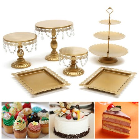 Round Cake Display - 6pcs Cake Stand Set Round Cupcake Holder Wedding Dessert Display Plate W/Crystal - 1Pc White 12 inch