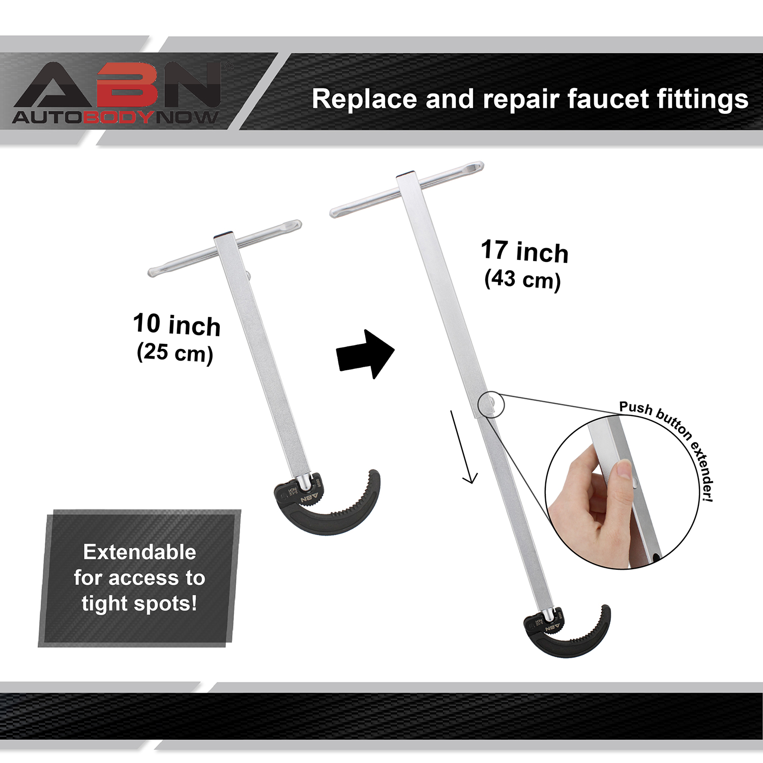 Abn Rigid Basin Wrench Extendable Faucet Installation Tool Telescoping Plumbers Under Sink Telescopic 3 4 To 1 7 8 Wrenches Power Hand Tools