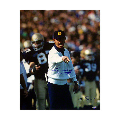 NCAA - Lou Holtz Notre Dame Fighting Irish 16x20 Pointing Autographed Photograph