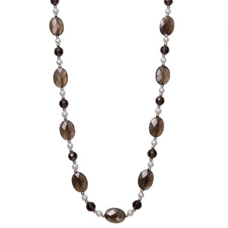 - 5-6mm Cultured Freshwater Pearl and Faceted Smokey Quartz Sterling Silver Necklace, 18