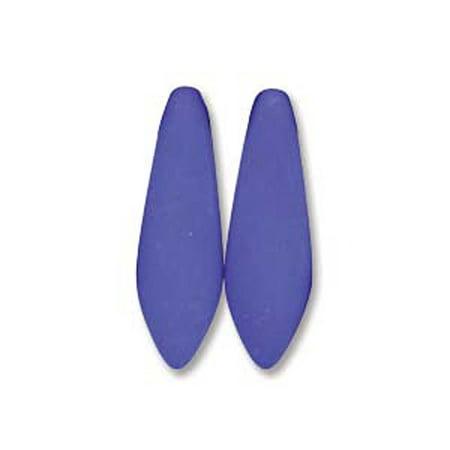 Neon Blue 25 Czech Glass Dagger Drop, Loose Beads, 5x16mm