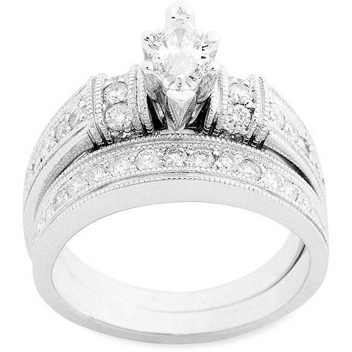 1 Carat Diamond Marquise Bridal Set in 10Kt White Gold