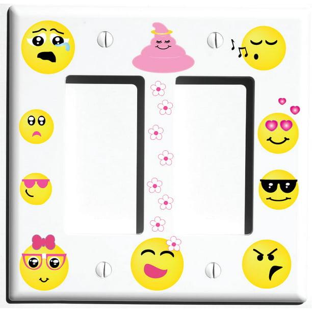 Double Rocker Emoji Light Switch Wall Plate Covers And Outlet Covers Emoji Room Decor Walmart Com Walmart Com