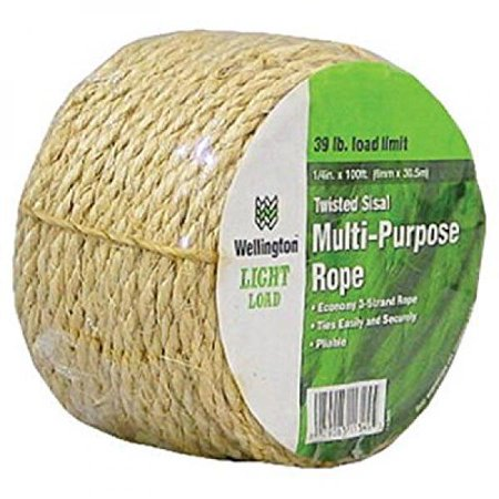 Natural Sisal Rope Perch - Wellington Cordage 11345 1/4-Inch X 100-Feet Natural Fiber Twisted Sisal Strand Rope / Twine