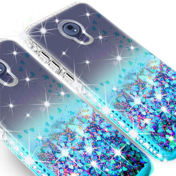 Moto G7 Power Case, Moto G7 Supra Case Ring Stand Glitter Liquid Quicksand Waterfall Floating Sparkle Shiny Bling Diamond Girls Cute Shock Proof Phone Case Cover, Purple/Blue - image 1 of 5