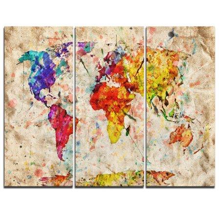 Design art vintage world map watercolor 3 piece graphic art on design art vintage world map watercolor 3 piece graphic art on wrapped canvas set gumiabroncs Images