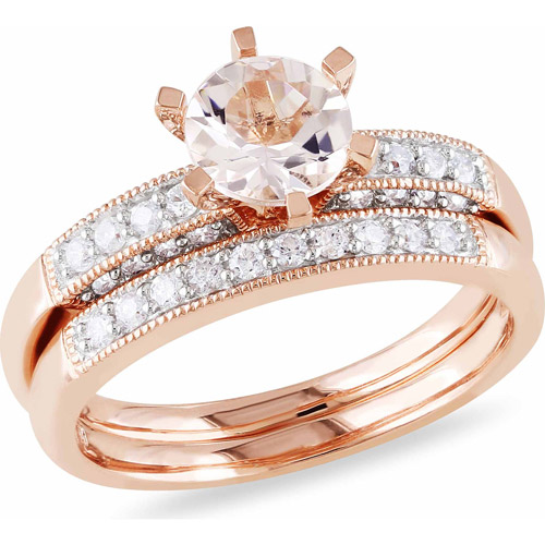 4/5 Carat T.G.W. Morganite and 1/3 Carat T.W. Diamond 10kt Pink Gold Bridal Set