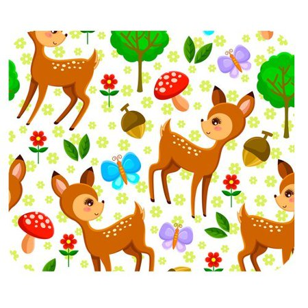 Flower Deer (MKHERT Nature Flavour Butterfly, Flower and Deer Rectangle Mousepad Mat For Mouse Mice Size 9.84x7.87)