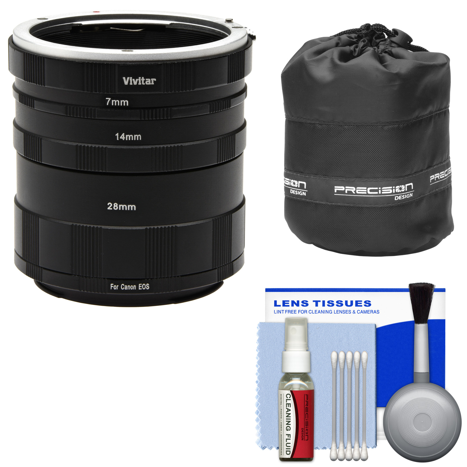 Vivitar Macro Manual Extension Tube Set (for Canon EOS Cameras) with Lens Pouch & Cleaning Kit