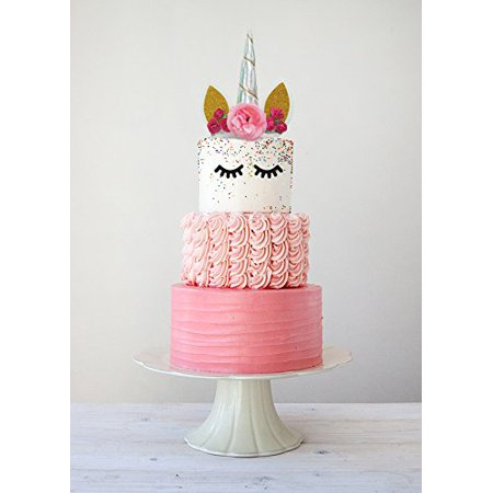 Boutique Quality Handmade Unicorn Cake Topper Uo Cute Horn Party Decorations Silver
