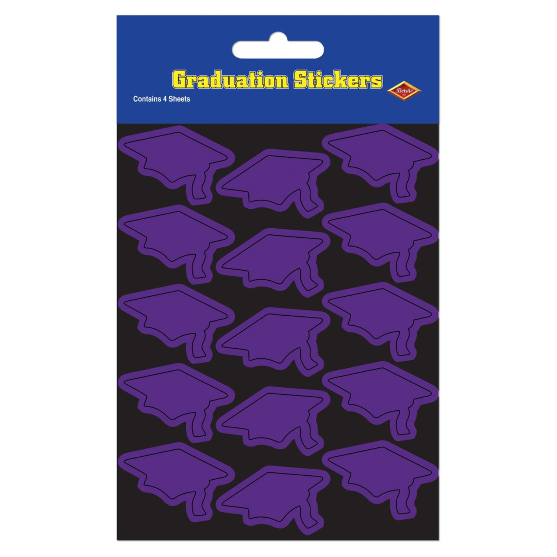 "Club Pack of 48 Purple Mortarboard Graduation Cap Sticker Sheets 7.5"""
