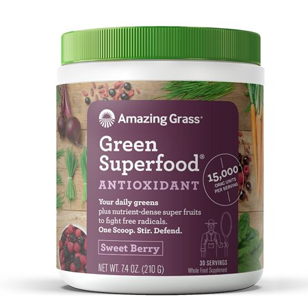 Amazing Grass Antioxidant Green Superfood Powder, Sweet Berry, 30