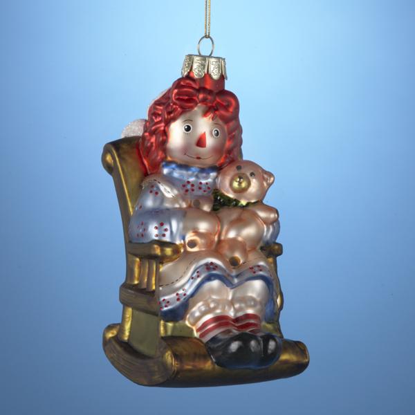 "5"" Raggedy Ann On Rocking Chair Mouth Blown Glass Christmas Ornament"