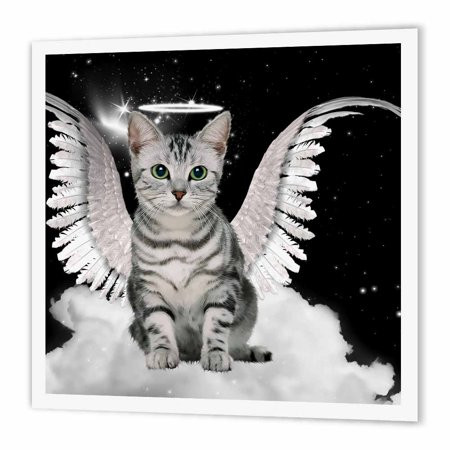 3dRose Gray Tabby Cat Angel Sitting on a Cloud with a cute Halo and Angel Wings, Iron On Heat Transfer, 10 by 10-inch, For White Material](Halos And Wings)