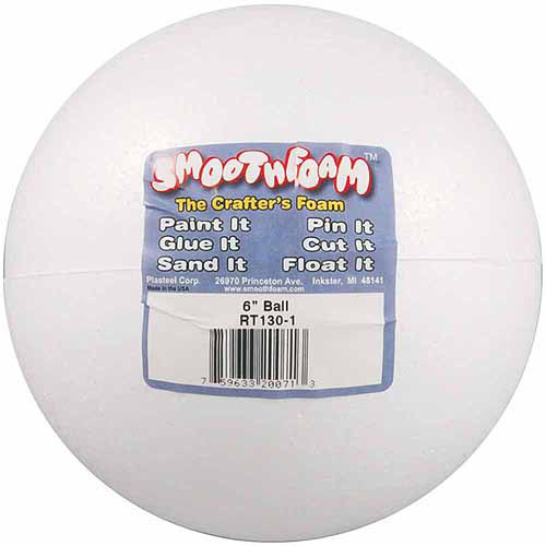 Smooth White Foam Balls, 6""
