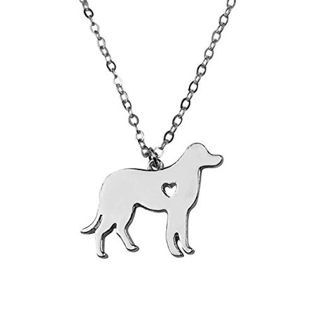 Puppy Necklace (Art Attack Silvertone I Love My Dog Lover Heart Outline Labrador Retriever Pet Puppy Rescue Pendant)