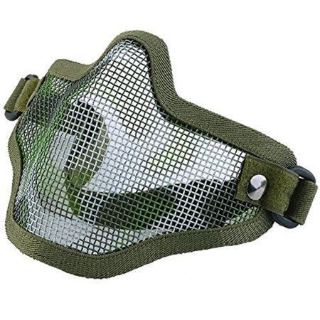 Image Half Face Mask Tactical Strike Metal Mesh Protective Lower Mask Green