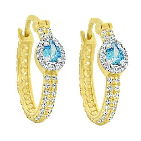 14k Yellow Gold, Small Hoop Earrings Aqua Blue Synthetic CZ Hinge (Synthetic Clasps)