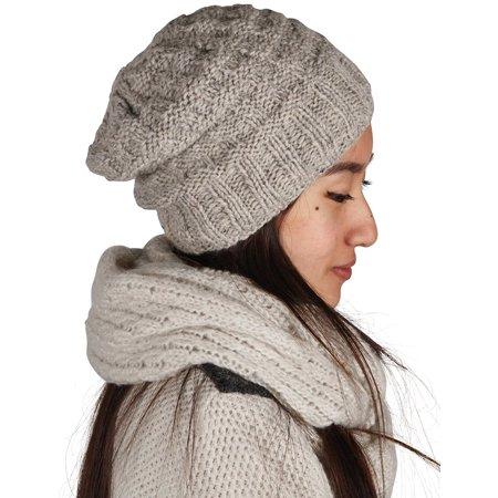 - Warm Chunky Wool Hat Cap Soft Stretch Fleece Inside Slouchy Beanie Skully Women