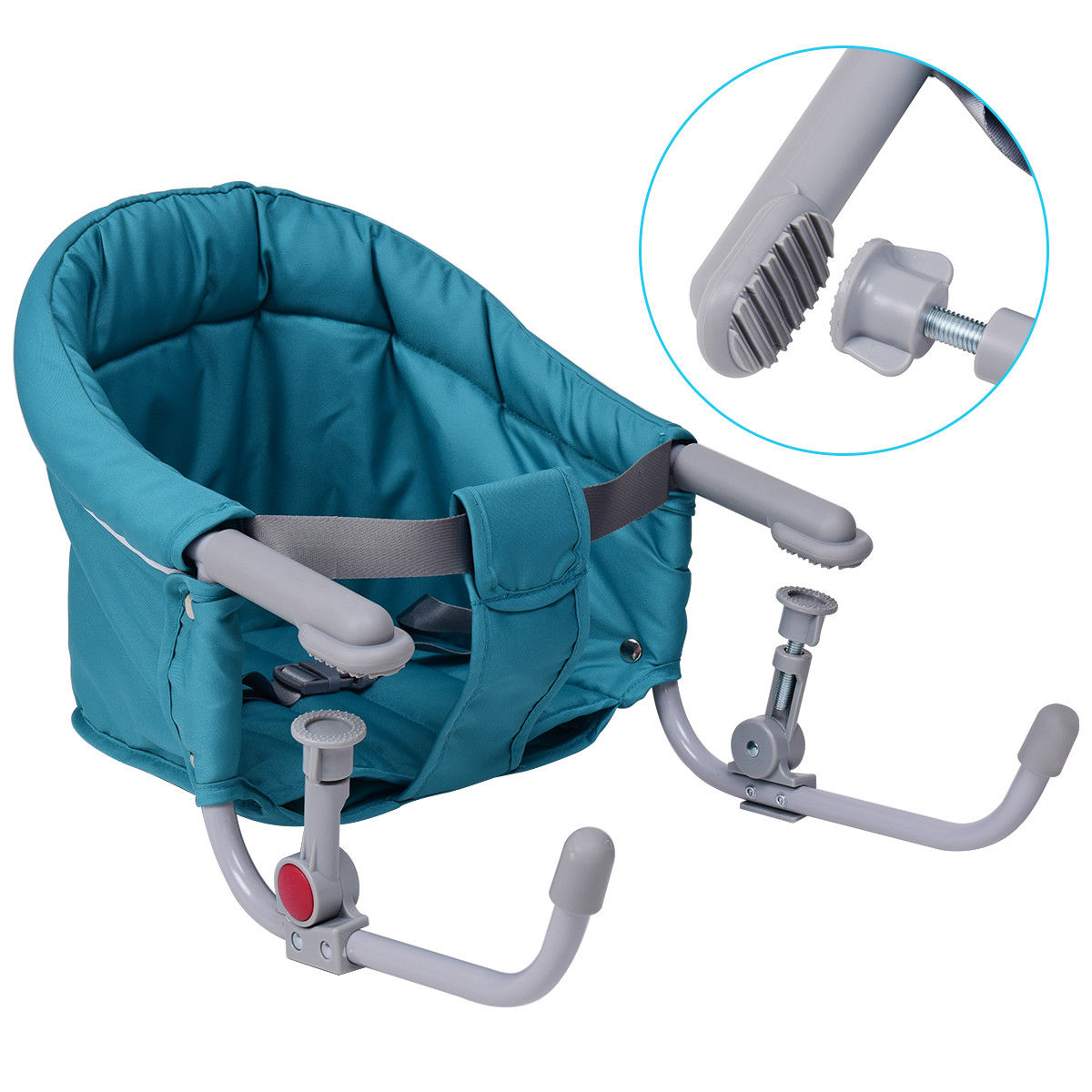 Gymax Green Foldable Baby Hook On Chair Booster Fast Table Chair Portable Carrying Bag