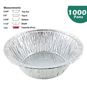 """Pactogo 5 3/4"""" Aluminum Foil Meat Pot Pie Pan Disposable 12 oz. Cooking Baking Tin - Heavy Duty Made in USA (Pack of 1000)"""