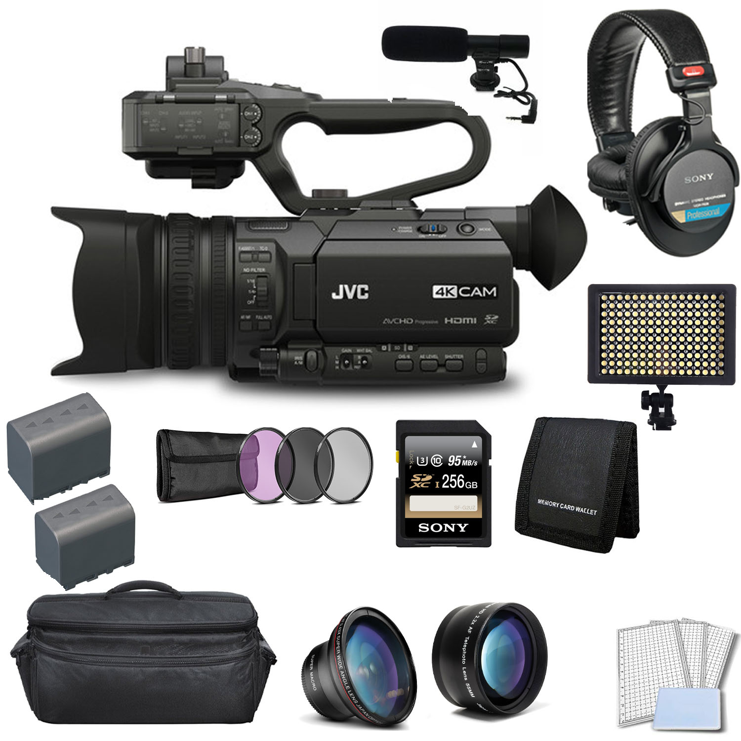 JVC 4KCAM Compact Professional Camcorder with Top Handle Unit Bundle with 256GB Memory Card + Microphone + Sony MDR-7506 Pro Headphones + More
