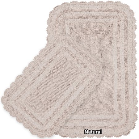 Mandara  2-piece Reversible Cotton Bath Mat Set with Crochet Lace