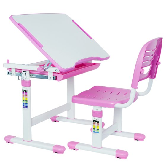 Vivo Height Adjule Childrens Desk Chair Kids Interactive Work Station Pink V201p