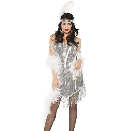 Silver Sequined Swinging Flapper Dress 20'S The Great Gatsby Halloween Costume - Great Cheap Costumes