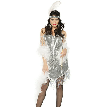 Great Gatsby Outfit Women (Silver Sequined Swinging Flapper Dress 20'S The Great Gatsby Halloween)