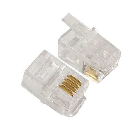 100 Connectors - 100 Pcs LOT CAT3 Telephone Connector End RJ11 6P4C Modular Plug