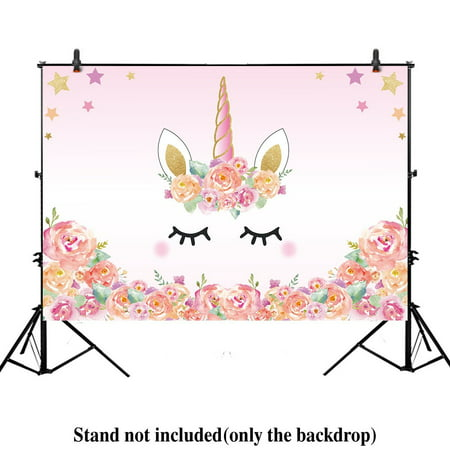 HelloDecor Polyster 7x5ft Unicorn Themed Birthday party banner photo backdrop background watercolor floral rose magical Gold Glitter stars baby shower dessert table for $<!---->
