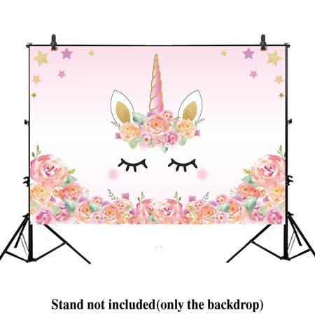 HelloDecor Polyster 7x5ft Unicorn Themed Birthday party banner photo backdrop background watercolor floral rose magical Gold Glitter stars baby shower dessert table