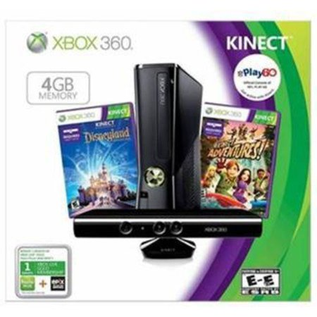 Xbox 360 4Gb Kinect Value Bundle W  Kinect Adventures And Disneyland Adventures