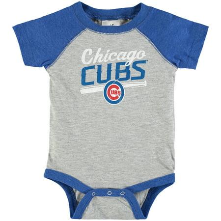 (Chicago Cubs Infant Soft As A Grape Gray/Royal Vintage Power Hitter Baseball Bodysuit)