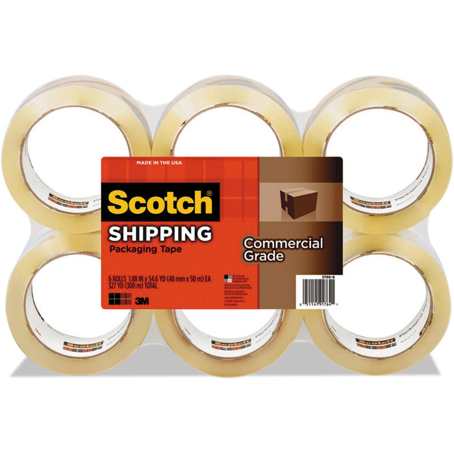 """Scotch 3750 Commercial Grade Packaging Tape, 1.88"""" x 54.6 yds, Clear, 6 Rolls/Pack"""