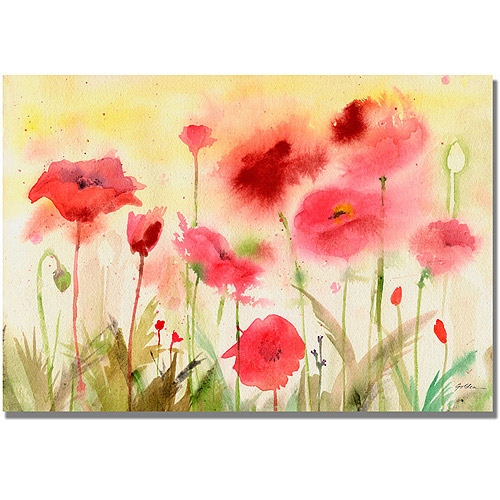 "Trademark Art ""Poppy Field"" Canvas Wall Art by Shelia Golden"