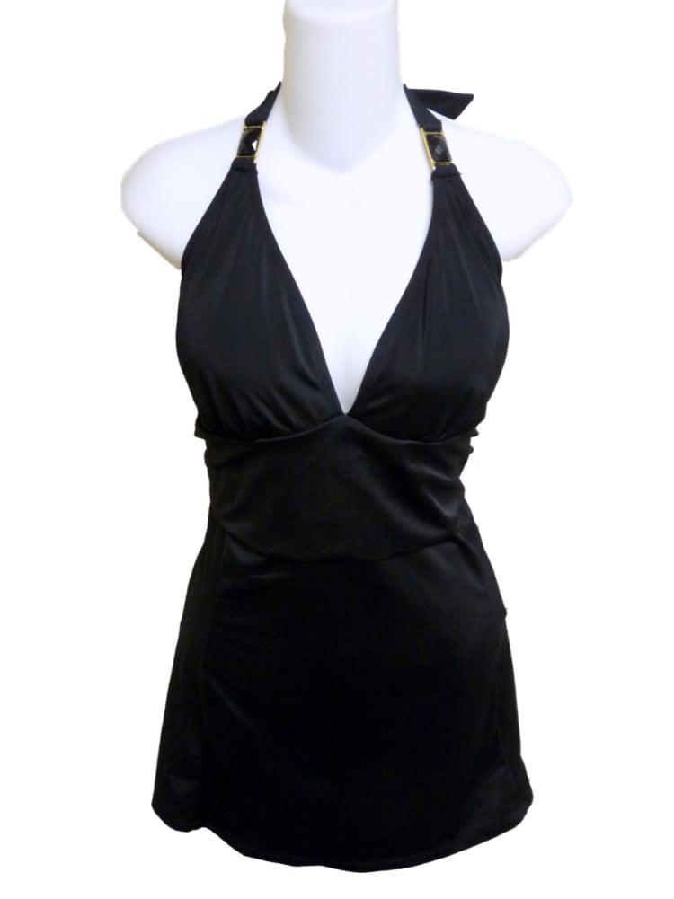 10; Color TROPICAL Escape Womens Halter Swim Dress Black. Size