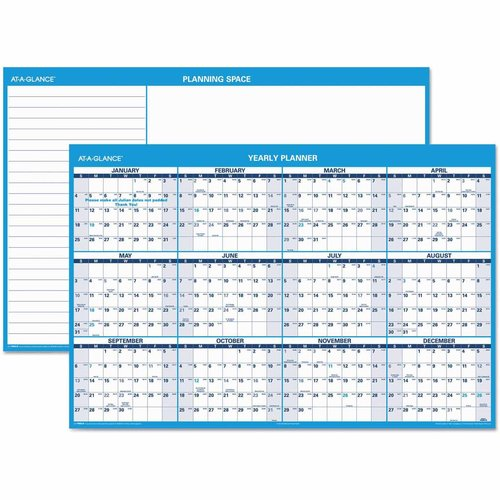 At-A-Glance Horizontal Erasable Wall Planner, 48 x 32, Blue/White, 2017 - AAGPM30028