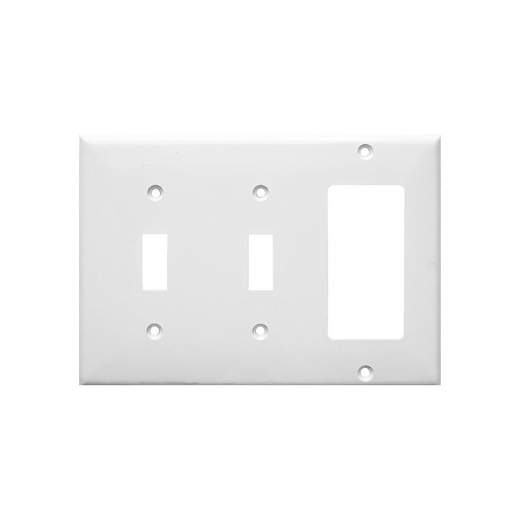 Lexan Wall Plates 3 Gang 2 Toggle 1 GFCI White