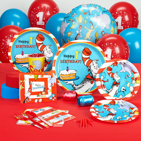 Dr Seuss 1st Birthday Party Supplies - Standard Party Pack for 8 - Dr Suess Birthday Decorations