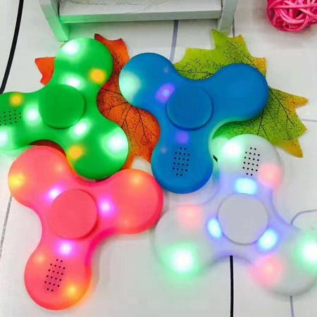 LED Light Bluetooth Speaker Anti-Stress Fidget Hand Tri Spinner EDC Gyro Toy - Spinner Lights